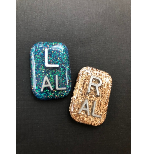 Hand Crafted Glitter Xray Markers Rectangle 3 Initials