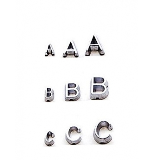 A-Z set of unmounted Lead Letters Flat Face