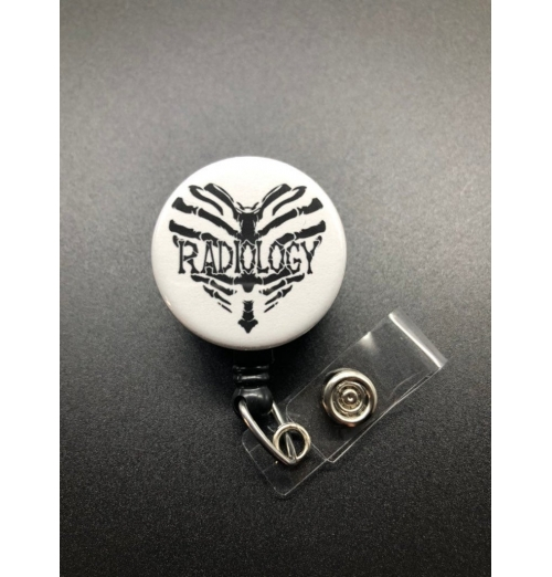 Radiology Heart Badge Holder, Retractable ID Badge Reel, Bones, Torso