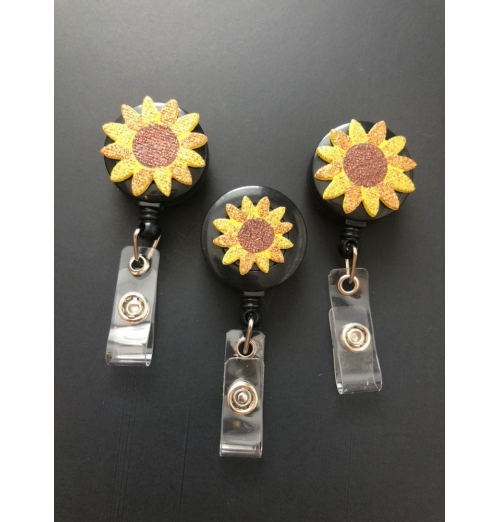 Sunflower Retractable Reel Badge, ID Badge Holder