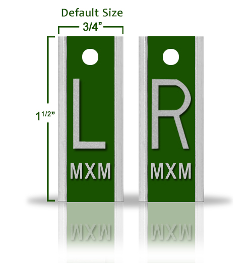 Elite Style Lead X Ray Markers, Emerald Green