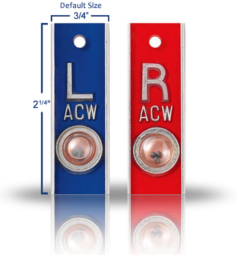 Aluminum Position Indicator X Ray Markers, Red & Blue