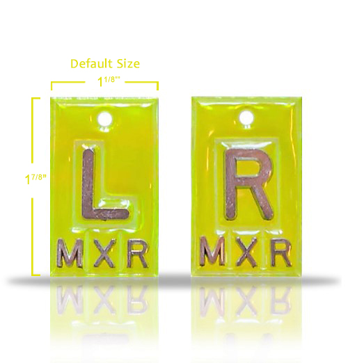 Non Adhesive Vinyl X Ray Markers,Fluorescent Yellow.Wafer Thin: 0.095 in