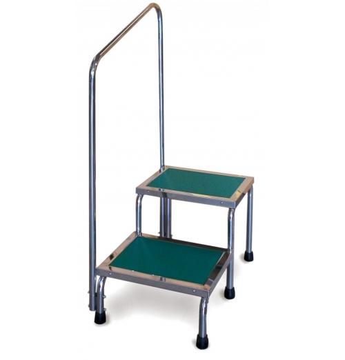 Narrow Double Step Stool With Handrail