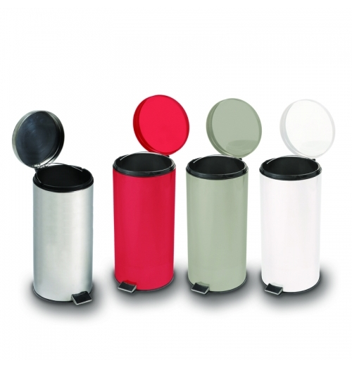 Round Steel Trash Can - Waste Recepticle