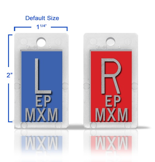 Two sets of xray markers with initials 2 or 3 initials